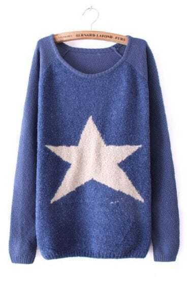 Blue Long Sleeve Star Embellished Pullovers Sweater