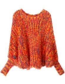 Orange Batwing Long Sleeve Plush Loose Sweater