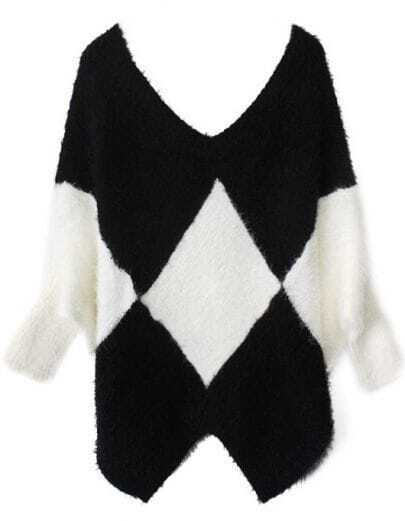 Black White Batwing Long Sleeve Geometric Sweater