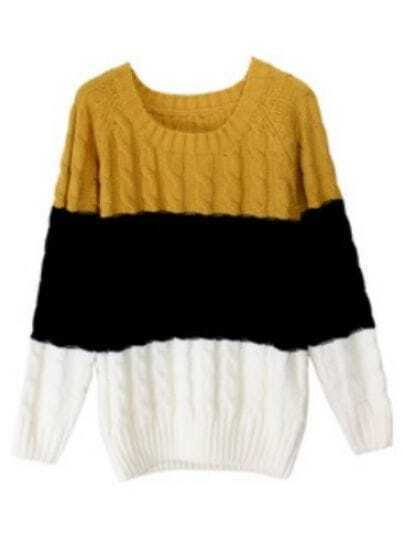 Yellow Black White Striped Long Sleeve Loose Sweater