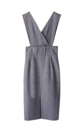 Dark Grey Spaghetti Strap High Waist Split Dress