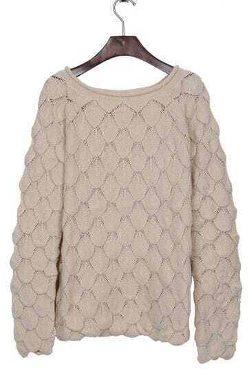 Apricot Round Neck Pineapple Knit Reglan Sleeve Sweater