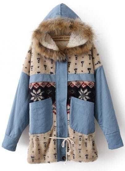 Blue Fur Trim Hooded Fleece Snowflake Pattern Parka
