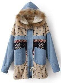 Blue Fur Trim Hooded Fleece Snowflake Pattern Parka
