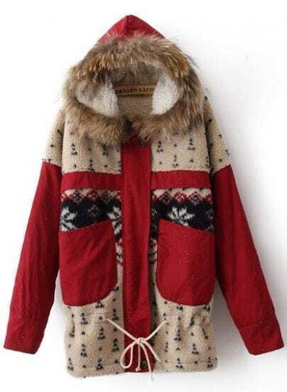 Red Fur Trim Hooded Fleece Snowflake Pattern Parka