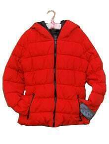 Red Long Sleeve Zipper Pockets Down Coat