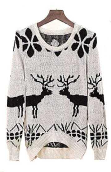 White Long Sleeve Deer Print Loose Pullovers Sweater