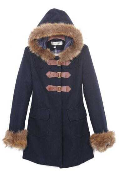 Navy Fur Trim Hooded and Cuffs Duffle Woolen Coat