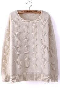 Beige Round Neck Three-dimensional Ball Pullover Sweater