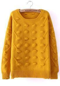 Yellow Round Neck Three-dimensional Ball Pullover Sweater