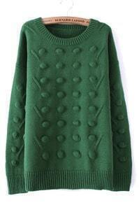 Green Round Neck Three-dimensional Ball Pullover Sweater