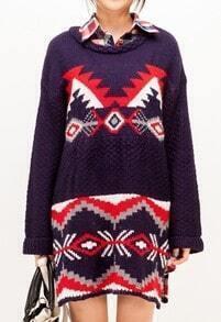 Navy Long Sleeve Tribal Print Split Sweater