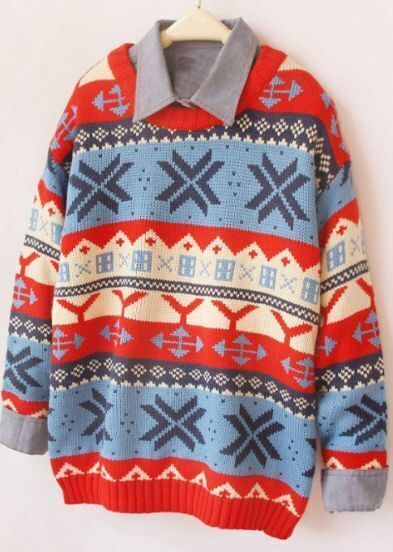 Blue Long Sleeve Snowflakes Pattern Loose Sweater
