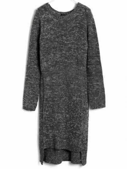 Grey Long Sleeve Asymmetrical Sweater Dress