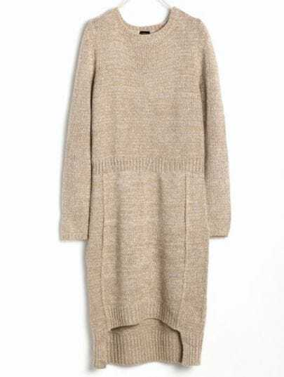 Apricot Long Sleeve Asymmetrical Sweater Dress