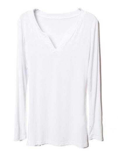 White V Neck Long Sleeve Slim T-Shirt