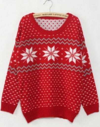 Red Long Sleeve Snowflake Polka Dot Sweater
