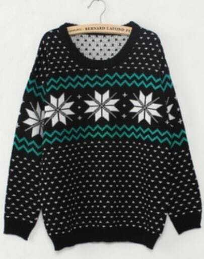 Black Long Sleeve Snowflake Polka Dot Sweater