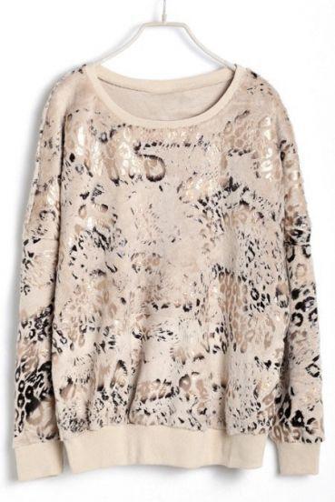 Apricot Batwing Long Sleeve Leopard Sweatshirt