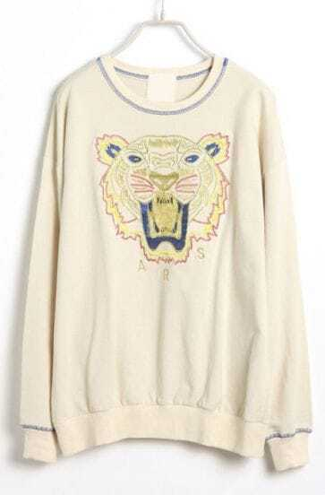 Apricot Long Sleeve Tiger Embroidery Loose Sweatshirt