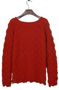 Red Round Neck Pineapple Knit Reglan Sleeve Sweater
