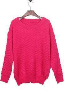 Rose Red Round Neck Simple Style Batwing Sleeve Jumper Sweater