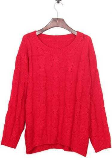 Red Round Neck Retro Cable Knitted weater