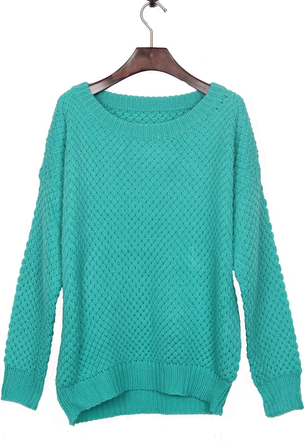 Easy Batwing Jumper Knitting Pattern : Mint Green Round Neck Simple Style Batwing Sleeve Jumper Sweater -SheIn(Shein...