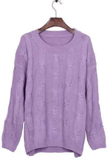 Purple Round Neck Retro Cable Knitted weater