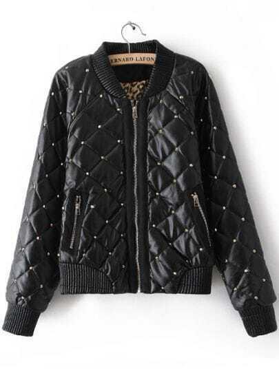 Black Long Sleeve Zipper Diaper Rivet Jacket