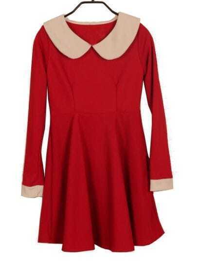Red Contrast Lapel Long Sleeve Ruffles Dress