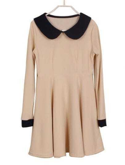 Beige Contrast Lapel Long Sleeve Ruffles Dress