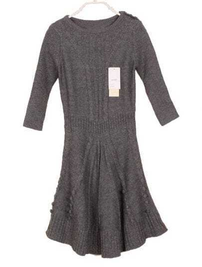 Grey Long Sleeve Ruffles Sweater Dress