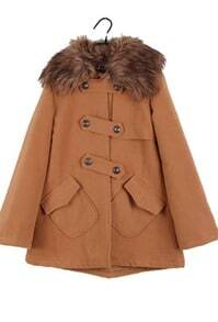 Brown Fur Lapel Long Sleeve Pockets Coat