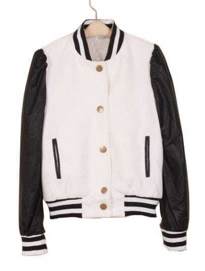 Black White Contrast Leather Long Sleeve Coat