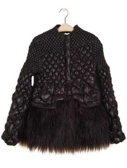 Black Puff Long Sleeve Contrast Fur Diaper Coat