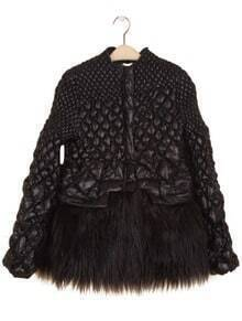 Black Puff Long Sleeve Contrast Fur Diaper Coat