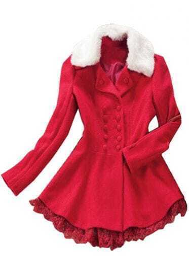 Red Fur Lapel Long Sleeve Lace Buttons Coat