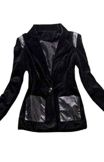 Black Long Sleeve Contrast PU Leather Pockets Coat