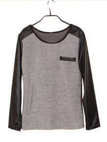 Grey Contrast Leather Long Sleeve Pocket T-Shirt