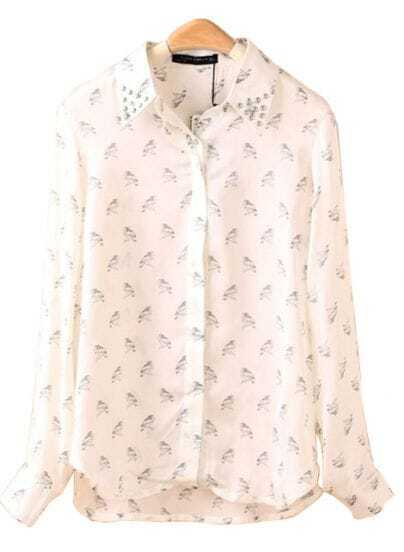 White Birds Print Rivets Lapel Long Sleeve Shirt
