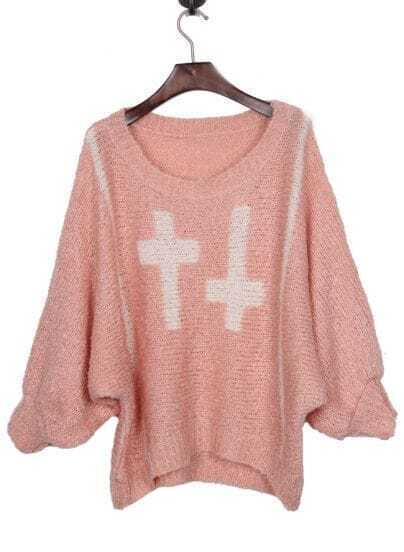 Pink Batwing Sleeve and White Cross Pattern Sweater