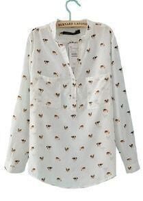 White Dog Print V-neck Pockets Long Sleeve Shirt