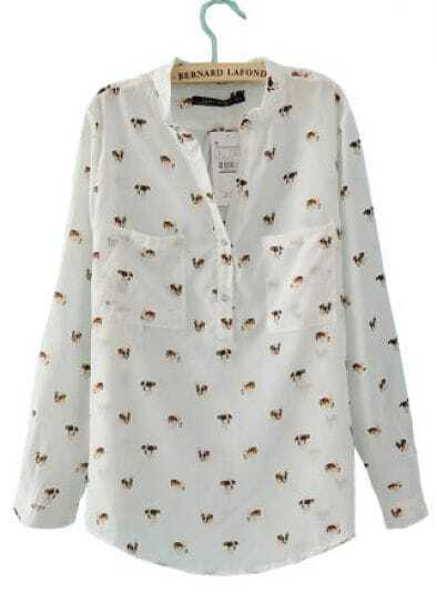 White Dog Print V-neck Pockets Long Sleeve Shirt