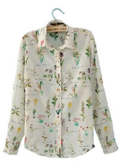 White Long Sleeve Lilies Print Rivet Shoulder Chiffon Shirt
