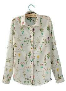 White Long Sleeve Lilies Print Rivet Shoulder Chiffon Shirt