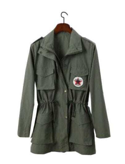 Army Green Lapel Zipper Pockets Badge Print Coat