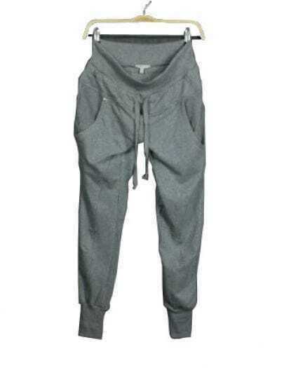 Grey Drawstring Waist Pockets Tapered Cuffed Trousers