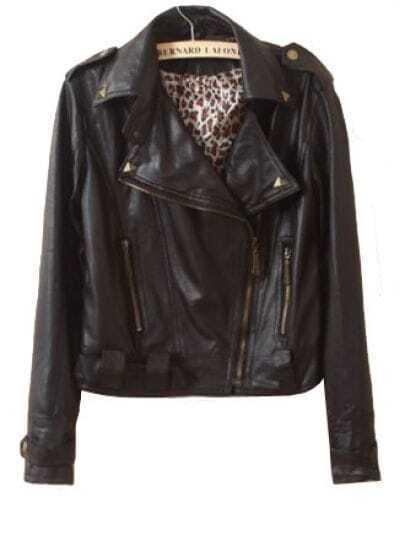Black Lapel Long Sleeve Rivet Zipper PU Leather Crop Coat