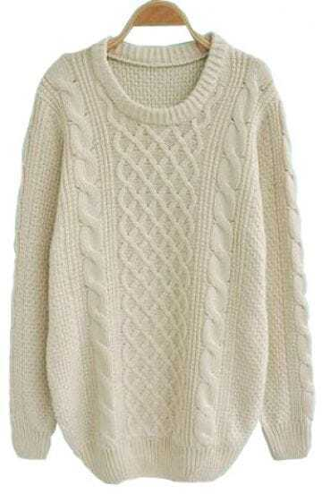 Beige Long Sleeve Serratula Loose Pullovers Sweater